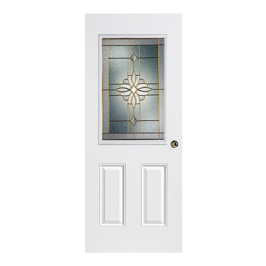 ReliaBilt Laurel 2-Panel Insulating Core Half Lite Left-Hand Inswing Primed Fiberglass Prehung Entry Door (Common: 36-in x 80-in; Actual: 37.5-in x 81.5-in)