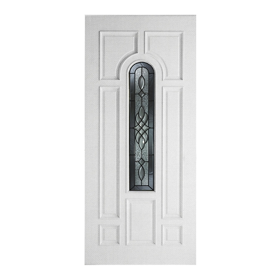 ReliaBilt Hampton 8-Panel Insulating Core Center Arch Lite Left-Hand Inswing Primed Fiberglass Prehung Entry Door (Common: 36-in x 80-in; Actual: 37.5-in x 81.5-in)
