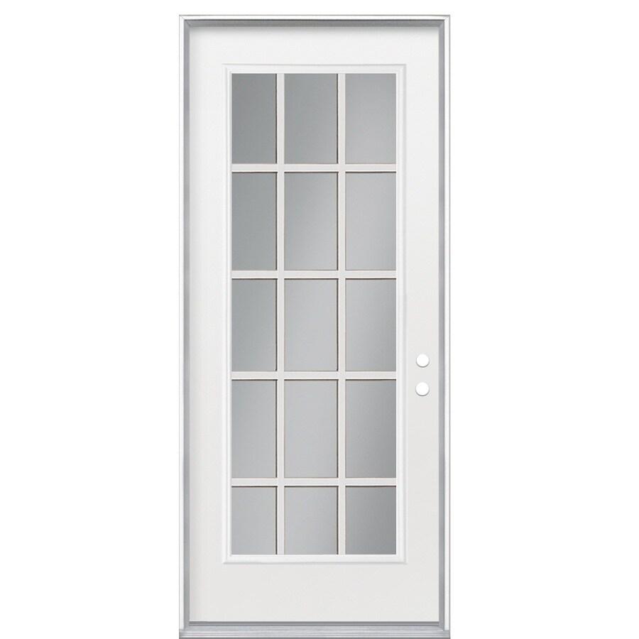 ReliaBilt Flush Insulating Core 15-Lite Left-Hand Inswing Primed Steel Prehung Entry Door (Common: 36-in x 80-in; Actual: 37.5-in x 81.5-in)