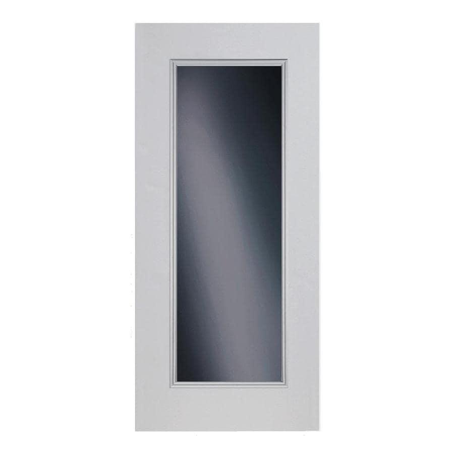 ReliaBilt Flush Insulating Core Full Lite Left-Hand Outswing Primed Fiberglass Prehung Entry Door (Common: 32-in x 80-in; Actual: 33.5-in x 80.375-in)