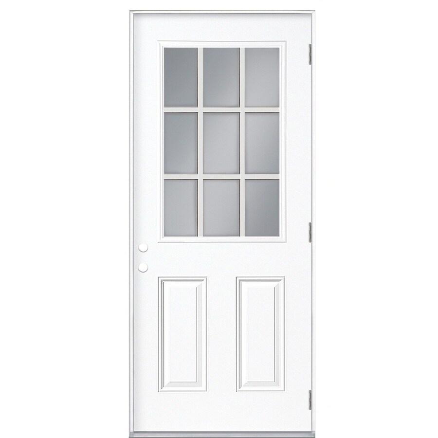 ReliaBilt 2-Panel Insulating Core 9-Lite Left-Hand Outswing Primed Fiberglass Prehung Entry Door (Common: 32-in x 80-in; Actual: 33.5-in x 80.375-in)