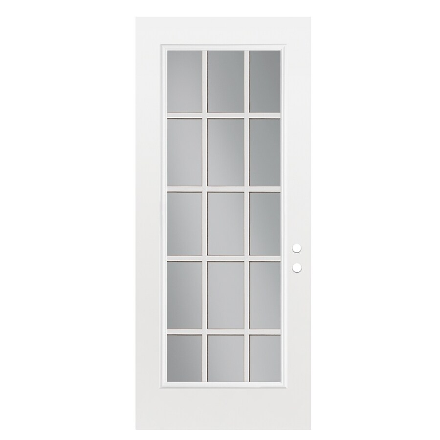 ReliaBilt Flush Insulating Core 15-Lite Right-Hand Outswing Primed Fiberglass Prehung Entry Door (Common: 32-in x 80-in; Actual: 33.5-in x 80.375-in)