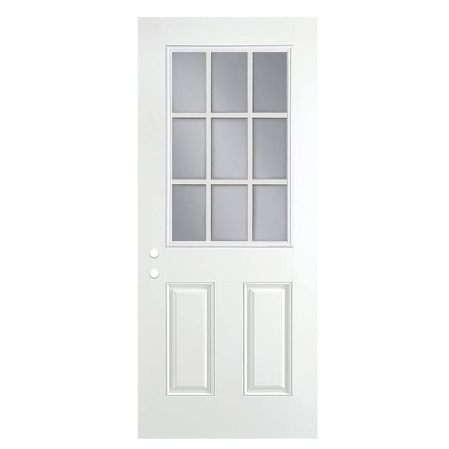 ReliaBilt 2-Panel Insulating Core 9-Lite Left-Hand Outswing Primed Fiberglass Prehung Entry Door (Common: 30-in x 80-in; Actual: 31.5-in x 80.375-in)