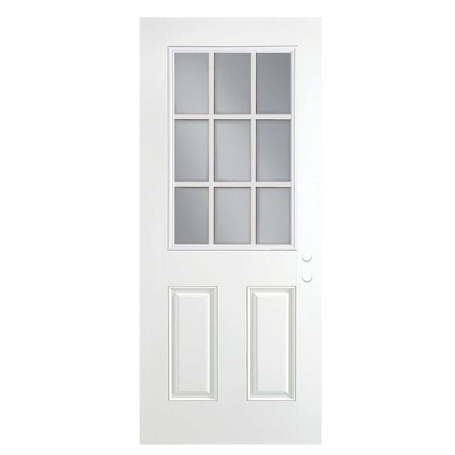 ReliaBilt 2-Panel Insulating Core 9-Lite Right-Hand Outswing Primed Fiberglass Prehung Entry Door (Common: 30-in x 80-in; Actual: 31.5-in x 80.375-in)