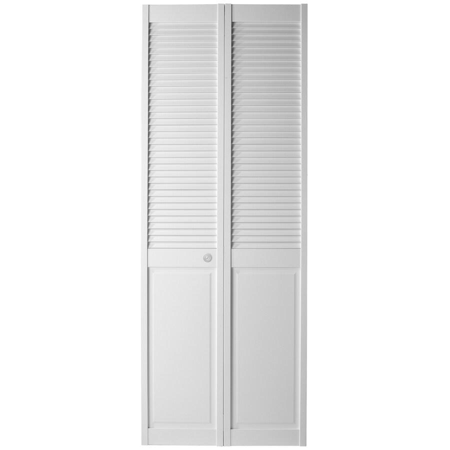 ReliaBilt White Solid Core Louver/Panel Pine Bi-Fold Closet Interior Door (Common: 30-in x 80-in; Actual: 29.5-in x 79-in)