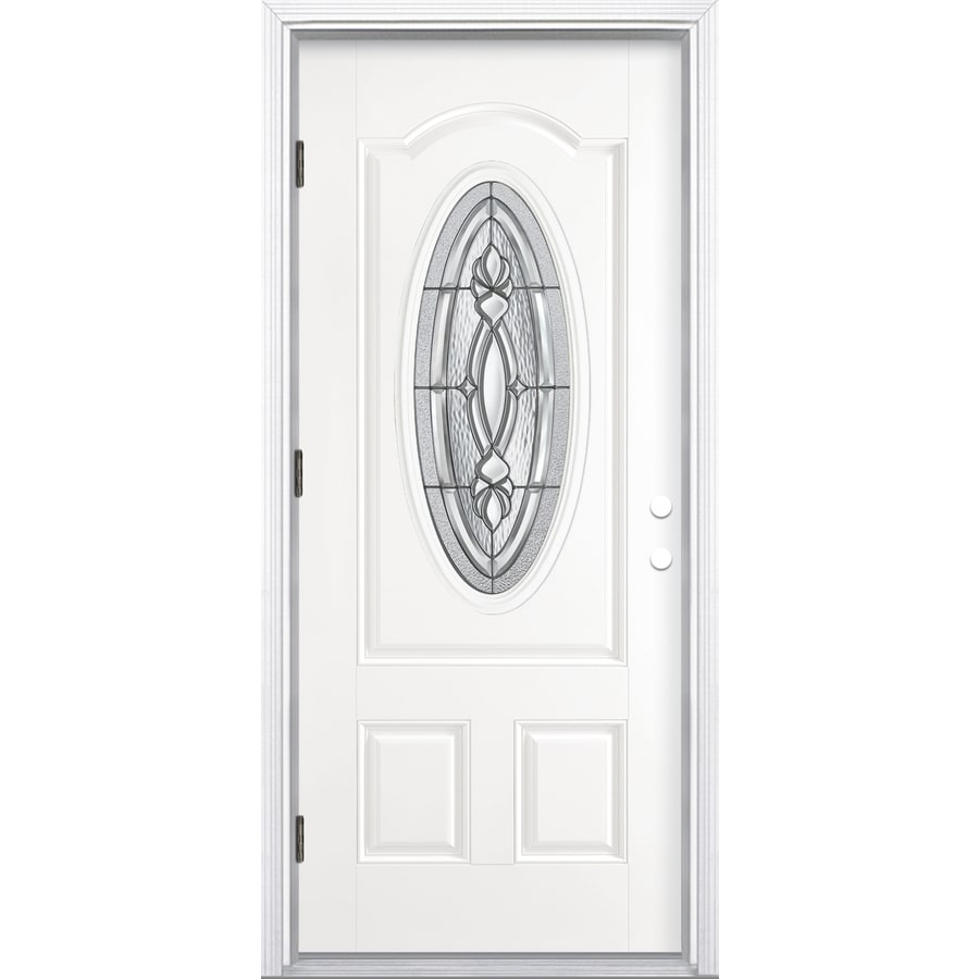 ReliaBilt Panama 2-Panel Insulating Core Oval Lite Right-Hand Outswing Primed Fiberglass Prehung Entry Door (Common: 36-in x 80-in; Actual: 37.5-in x 80.375-in)