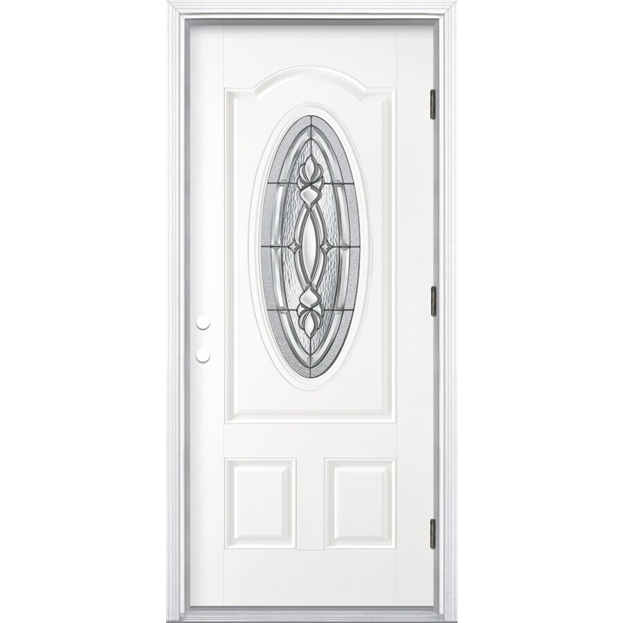 ReliaBilt Panama 2-Panel Insulating Core Oval Lite Left-Hand Outswing Primed Fiberglass Prehung Entry Door (Common: 36-in x 80-in; Actual: 37.5-in x 80.375-in)
