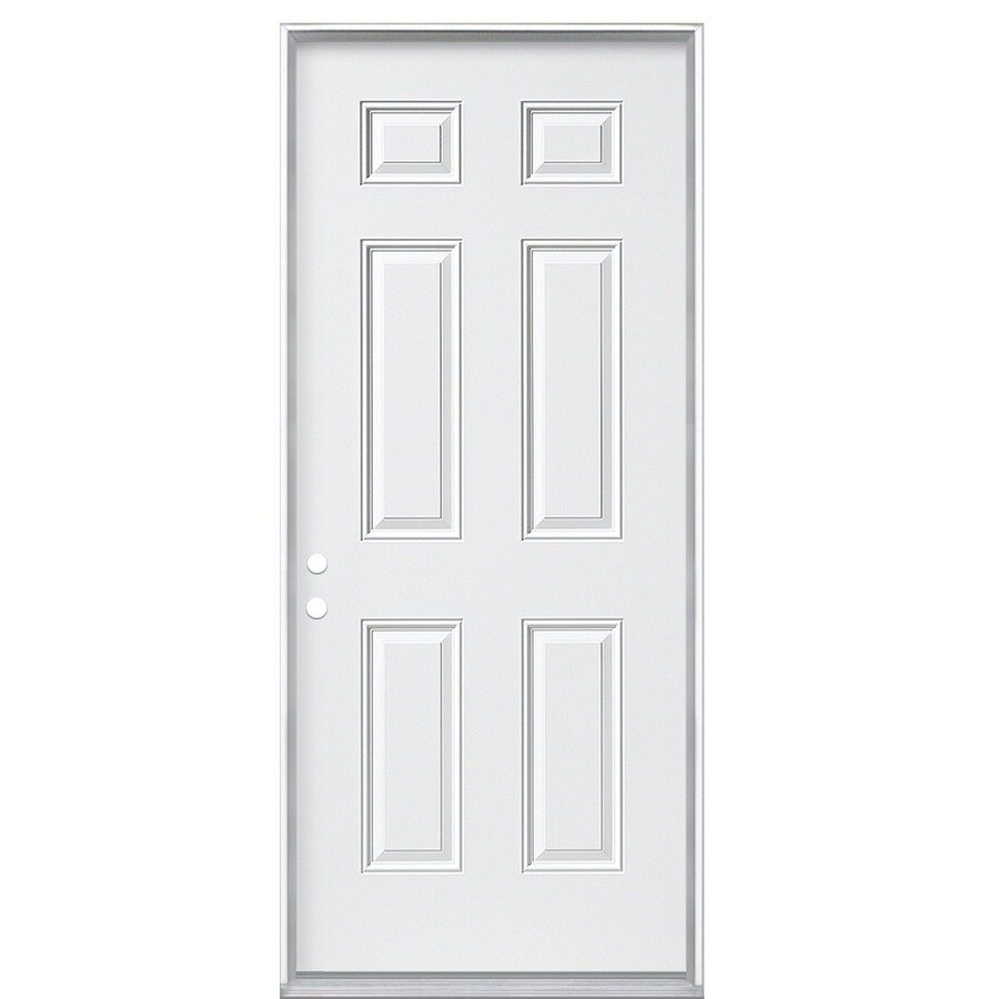 ReliaBilt 6-Panel Insulating Core Right-Hand Inswing Primed Steel Prehung Entry Door (Common: 32-in x 74-in; Actual: 33.5-in x 75.5-in)