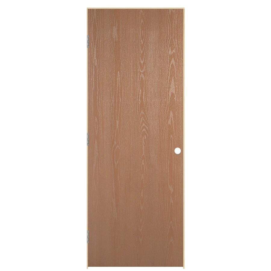 ReliaBilt Prehung Hollow Core Flush Oak Interior Door (Common: 32-in x 80-in; Actual: 33.5-in x 81.5-in)
