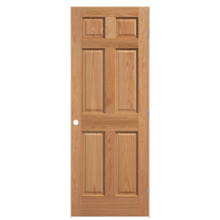 ReliaBilt Prehung Solid Core 6-Panel Oak Interior Door (Common: 32-in x 80-in; Actual: 33.5-in x 81.5-in)