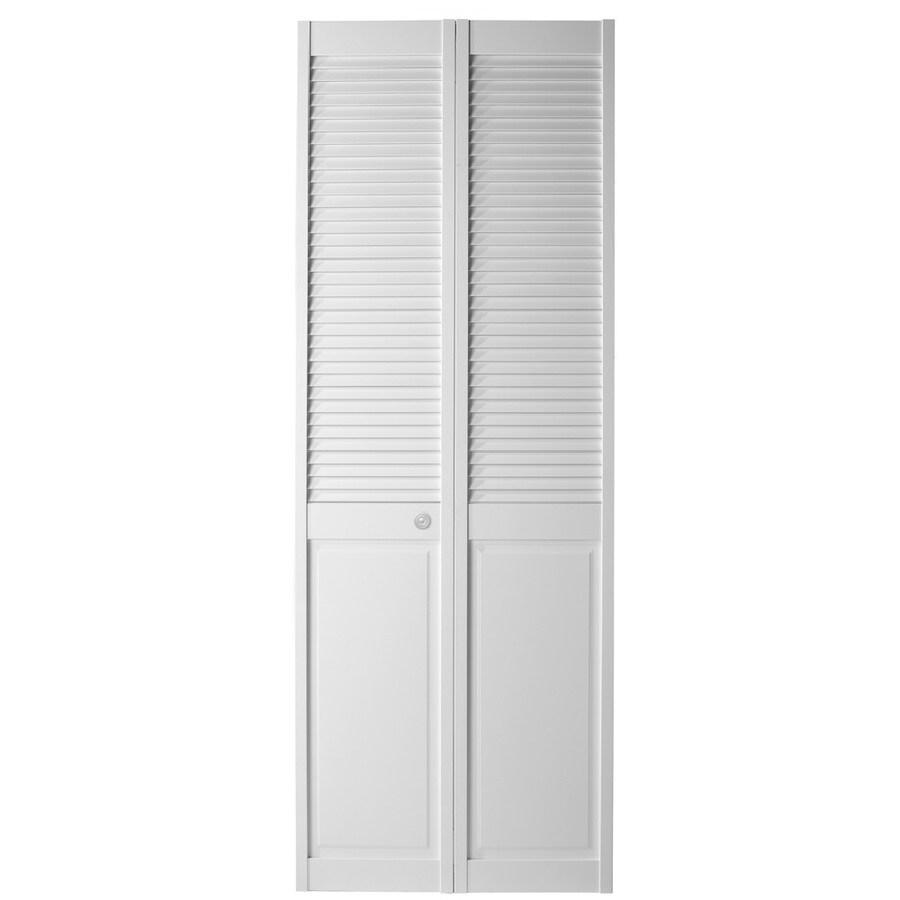 shop masonite white solid core louver panel pine bi fold closet interior door common 36 in x. Black Bedroom Furniture Sets. Home Design Ideas