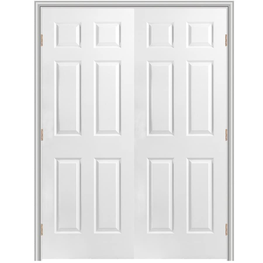 Masonite Prehung Hollow Core 6-Panel Interior Door (Common: 60-in x 80-in; Actual: 61.5-in x 81.5-in)