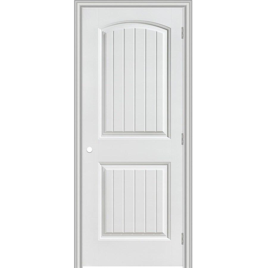 Masonite Prehung Hollow Core 2-Panel Round Top Plank Interior Door (Common: 30-in x 80-in; Actual: 31.5-in x 81.5-in)