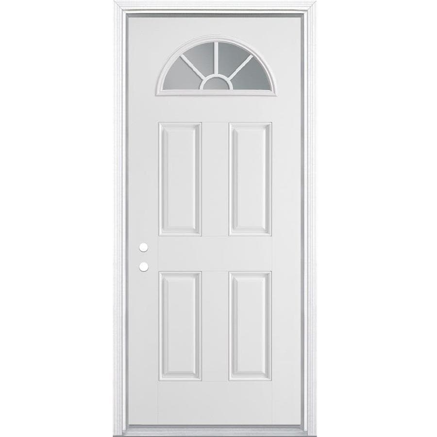 Masonite 4-Panel Insulating Core Fan Lite Right-Hand Inswing Primed Steel Prehung Entry Door (Common: 32-in x 80-in; Actual: 33.5-in x 81.5-in)