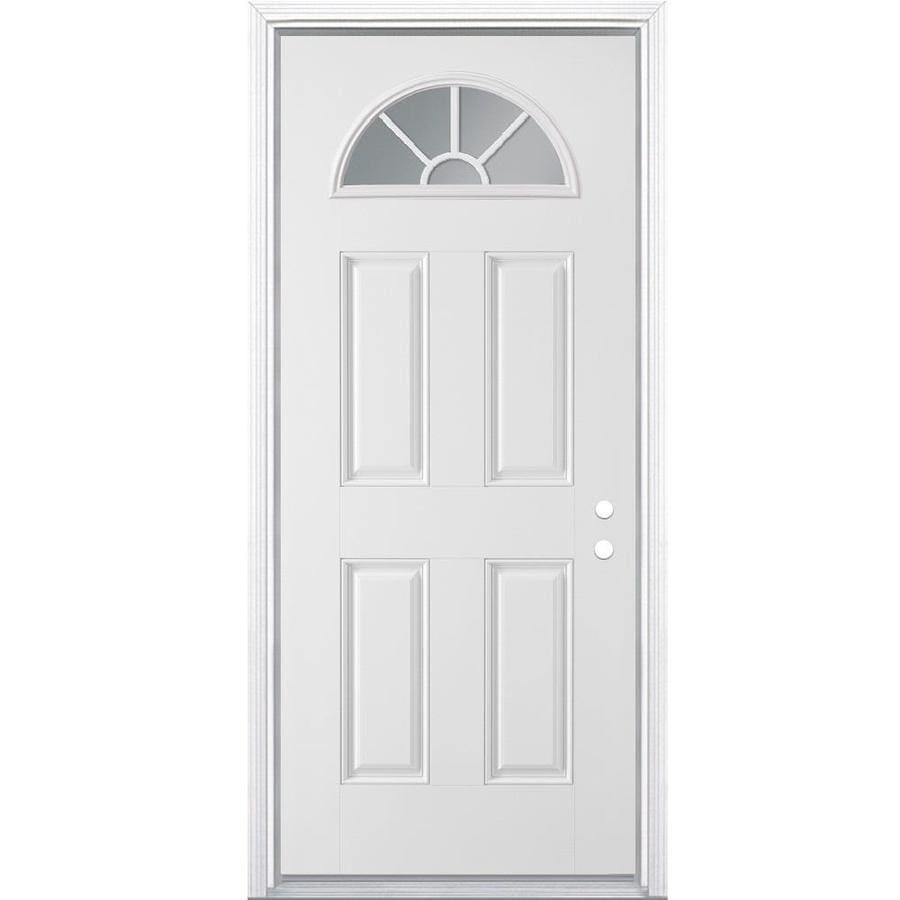 Masonite 4-Panel Insulating Core Fan Lite Left-Hand Inswing Primed Steel Prehung Entry Door (Common: 32-in x 80-in; Actual: 33.5-in x 81.5-in)
