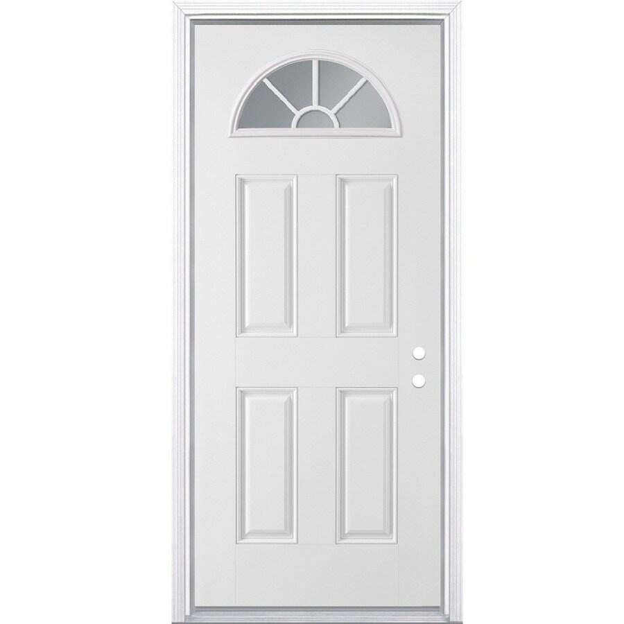 Masonite 4-Panel Insulating Core Fan Lite Left-Hand Inswing Primed Steel Prehung Entry Door (Common: 36-in x 80-in; Actual: 37.5-in x 81.5-in)