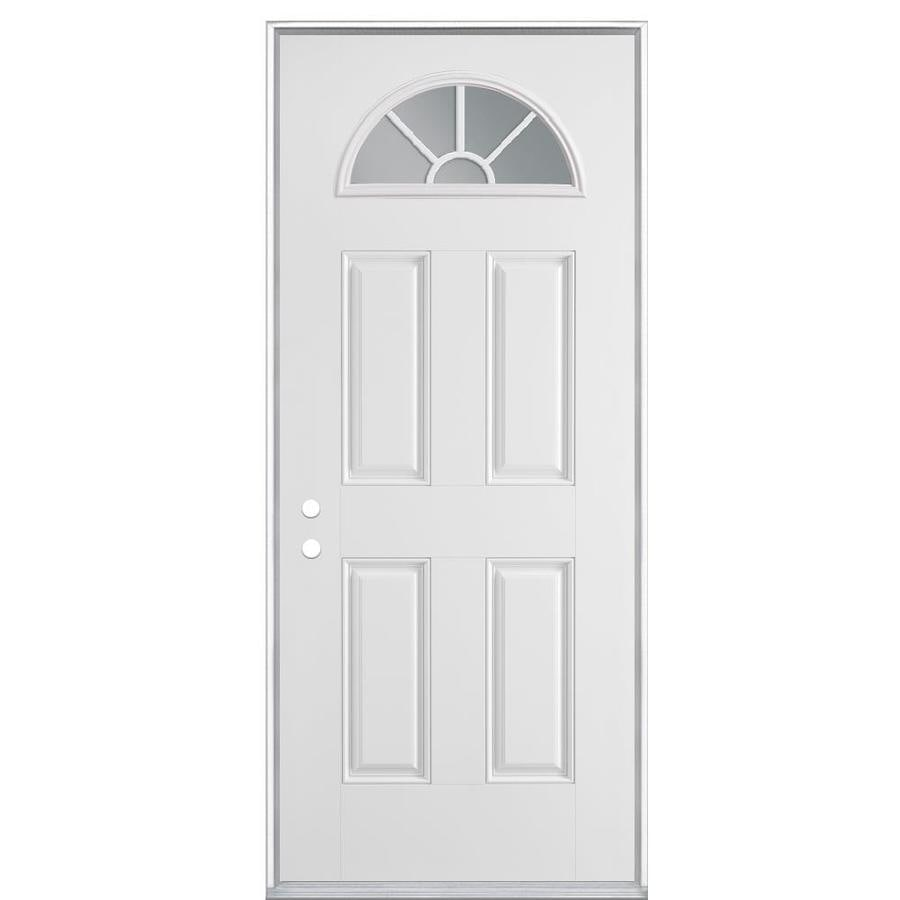 Masonite 4-Panel Insulating Core Fan Lite Right-Hand Inswing Primed Steel Prehung Entry Door (Common: 36-in x 80-in; Actual: 37.5-in x 81.5-in)