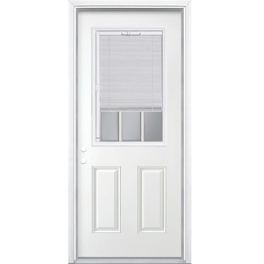 Shop masonite 2 panel insulating core blinds and grilles for Glass entry doors for home