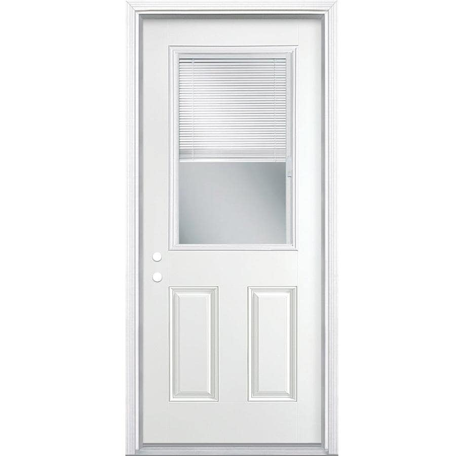 Masonite 2-Panel Insulating Core Blinds Between The Glass Half Lite Right-Hand Inswing Primed Steel Prehung Entry Door (Common: 30-in x 80-in; Actual: 31.5-in x 81.5-in)