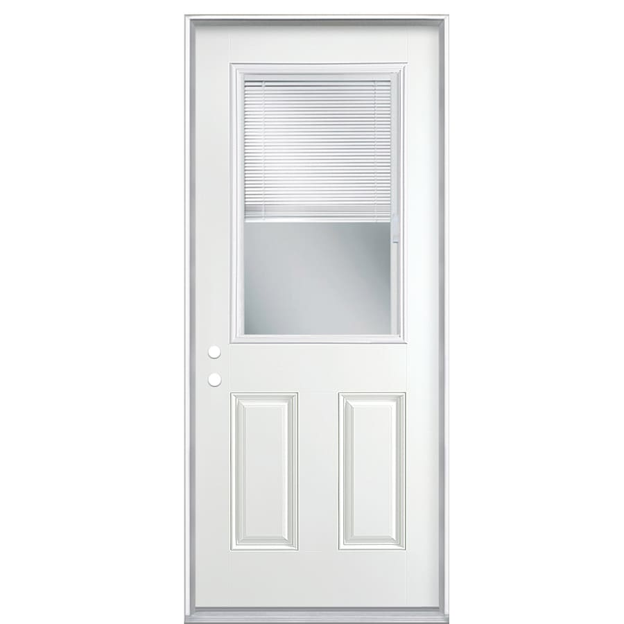 Masonite 2-Panel Insulating Core Blinds Between The Glass Half Lite Right-Hand Inswing Primed Steel Prehung Entry Door (Common: 32-in x 80-in; Actual: 33.5-in x 81.5-in)