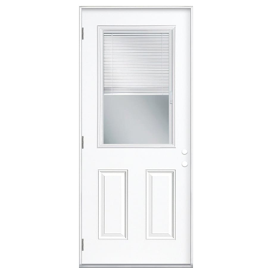 Masonite 2-Panel Insulating Core Blinds Between The Glass Half Lite Right-Hand Outswing Primed Steel Prehung Entry Door (Common: 32-in x 80-in; Actual: 33.5-in x 80.375-in)