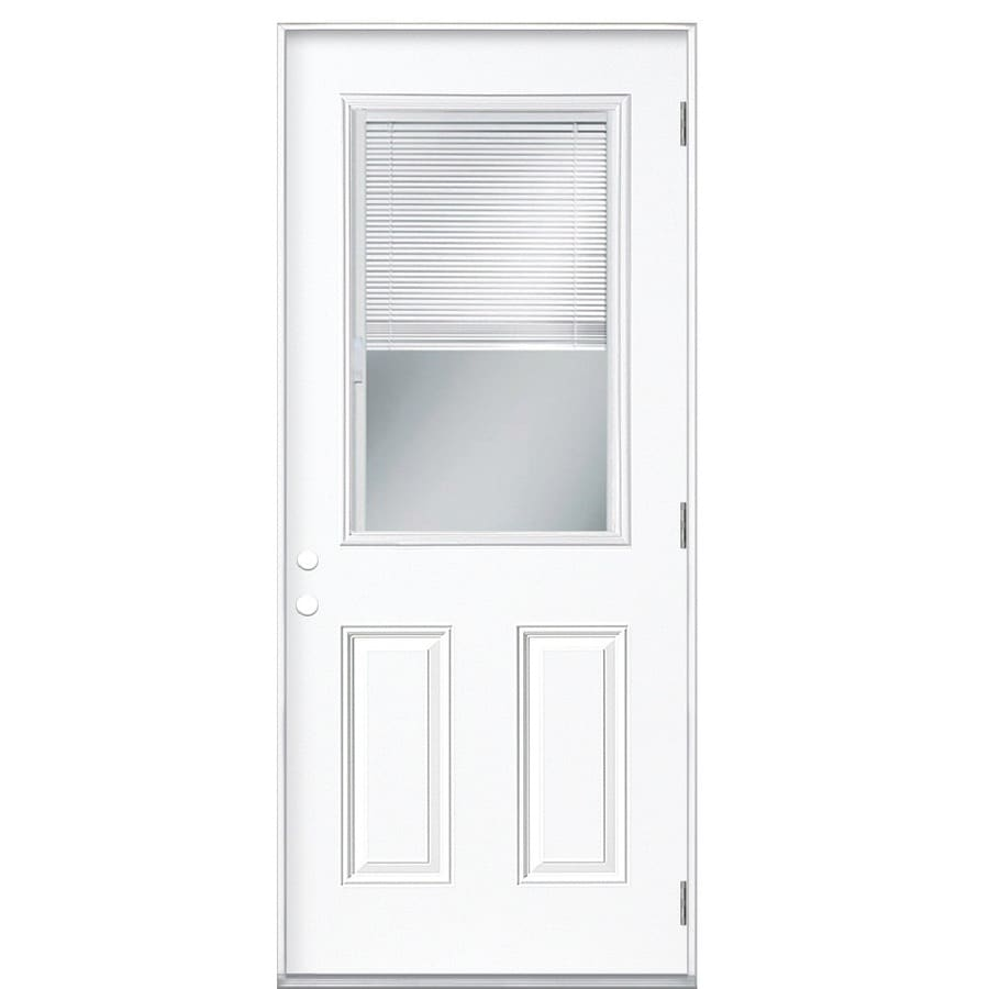 Masonite 2-Panel Insulating Core Blinds Between The Glass Half Lite Left-Hand Outswing Primed Steel Prehung Entry Door (Common: 32-in x 80-in; Actual: 33.5-in x 80.375-in)