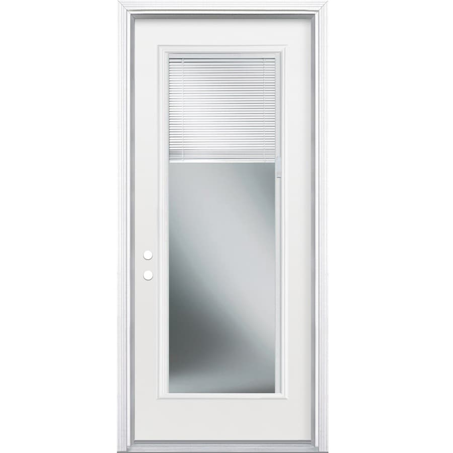 Masonite 36 In X 80 In Steel Full Lite Right Hand Inswing Primed Prehung Single Front Door Brickmould Included With Blinds In The Front Doors Department At Lowes Com Save big on exterior doors & hardware at menards®! lowe s