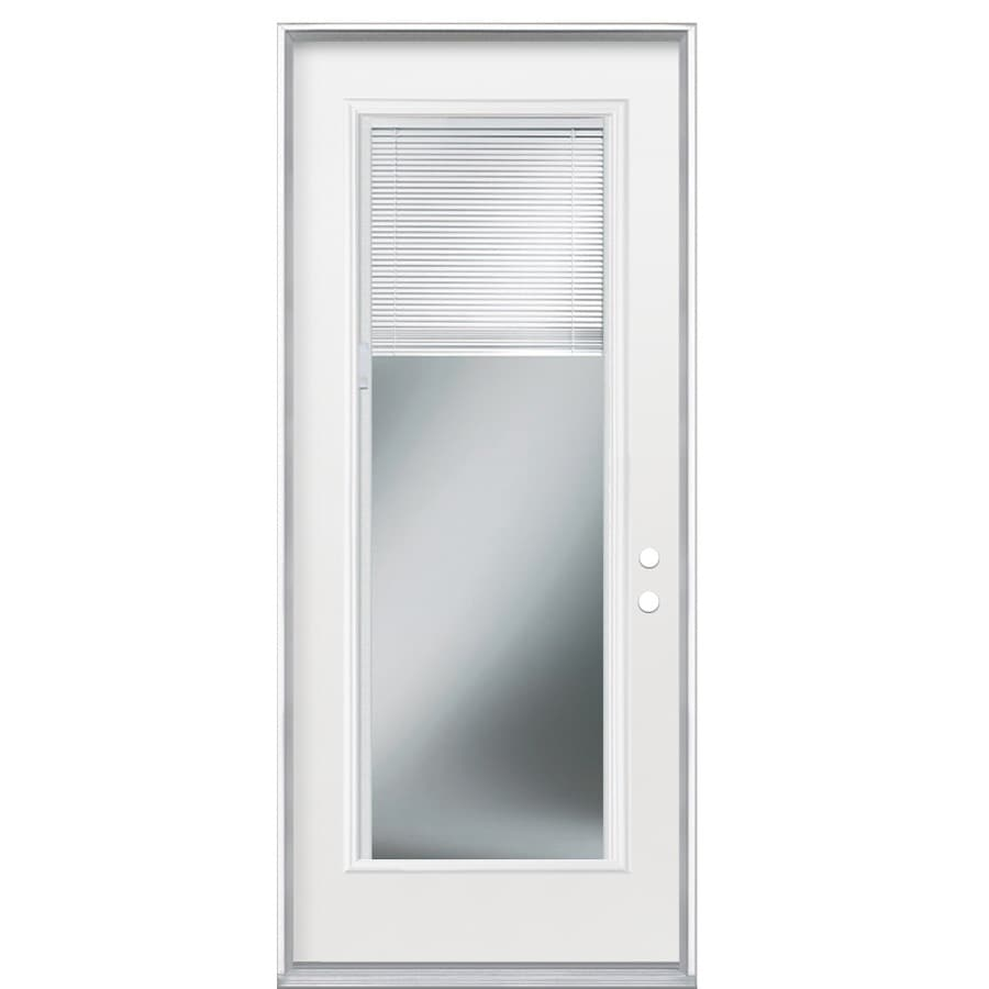 Masonite 2-Panel Insulating Core Blinds Between The Glass Full Lite Left-Hand Inswing Primed Steel Prehung Entry Door (Common: 36-in x 80-in; Actual: 37.5-in x 81.5-in)