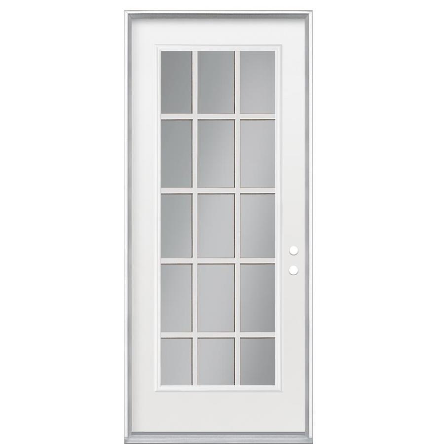 Masonite Flush Insulating Core 15-Lite Left-Hand Inswing Primed Steel Prehung Entry Door (Common: 32-in x 80-in; Actual: 33.5-in x 81.5-in)