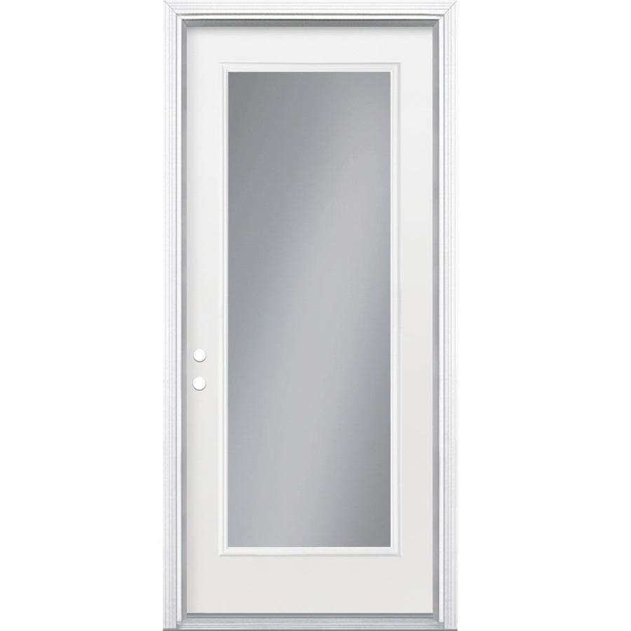 Shop Masonite Flush Insulating Core Full Lite Right Hand Inswing Steel Primed Prehung Entry Door