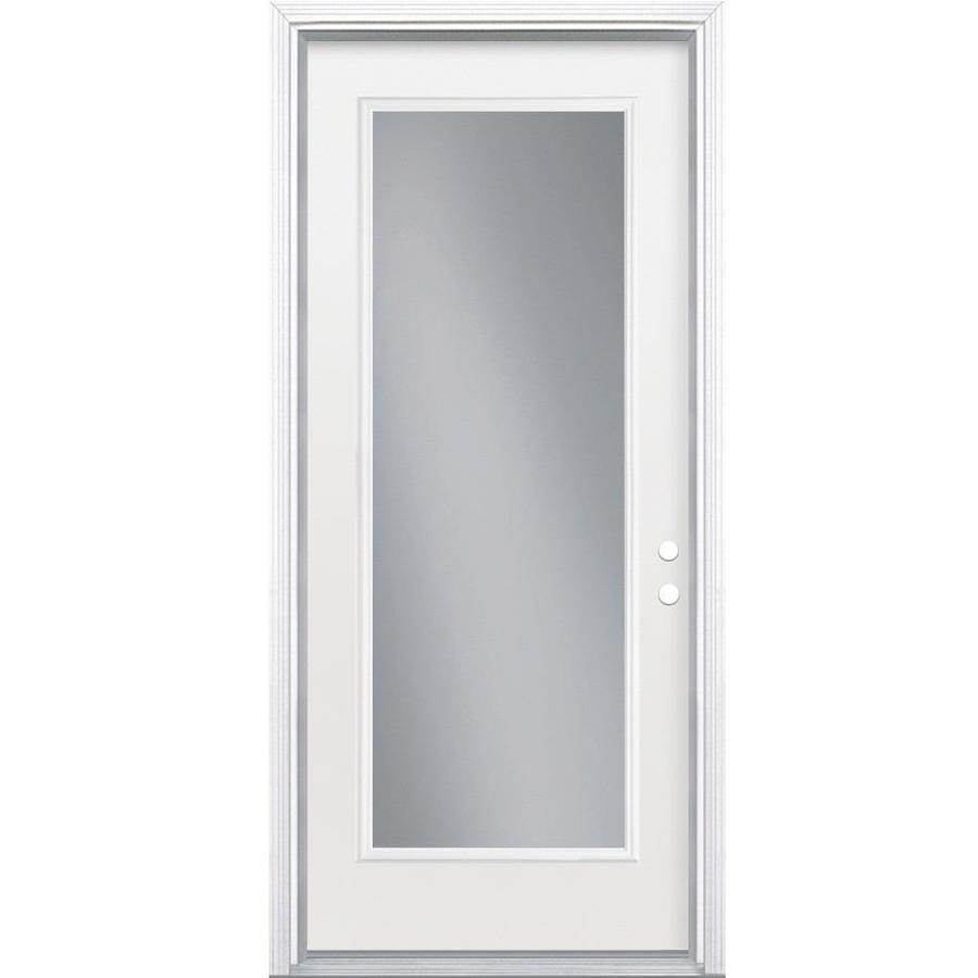 Masonite Flush Insulating Core Full Lite Left-Hand Inswing Primed Steel Prehung Entry Door (Common: 32-in x 80-in; Actual: 33.5-in x 81.5-in)