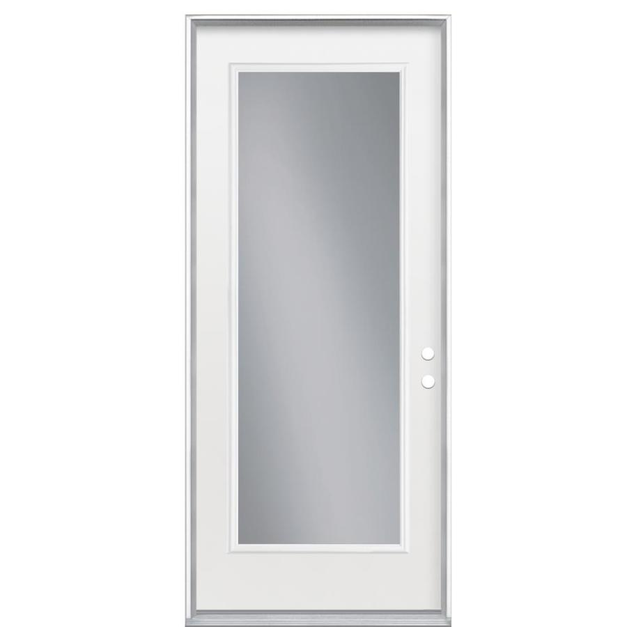 Masonite Flush Insulating Core Full Lite Left-Hand Inswing Primed Steel Prehung Entry Door (Common: 36-in x 80-in; Actual: 37.5-in x 81.5-in)