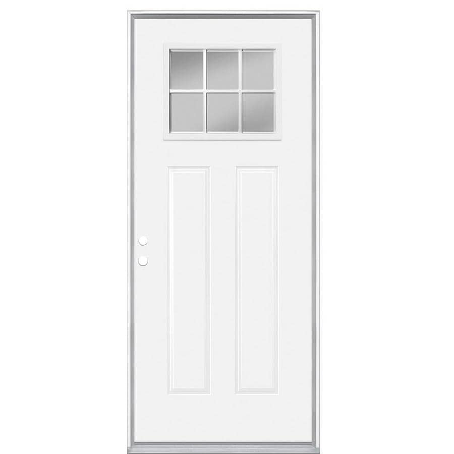 Masonite 2-Panel Insulating Core Craftsman 6-Lite Right-Hand Inswing Primed Steel Prehung Entry Door (Common: 36-in x 80-in; Actual: 37.5-in x 81.5-in)