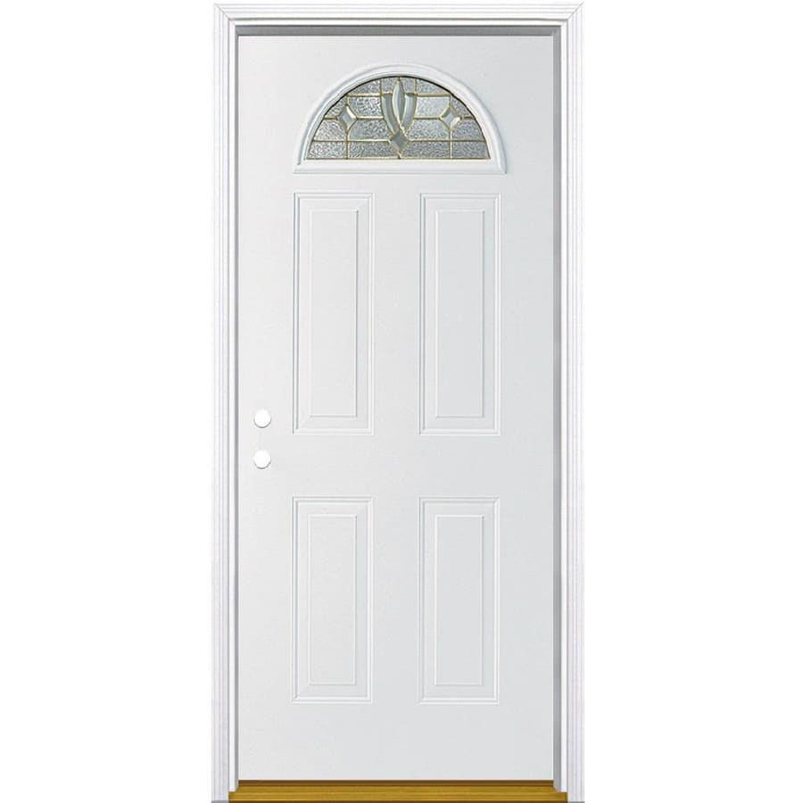 Masonite Laurel 4-Panel Insulating Core Fan Lite Right-Hand Inswing Primed Steel Prehung Entry Door (Common: 36-in x 80-in; Actual: 37.5-in x 81.5-in)