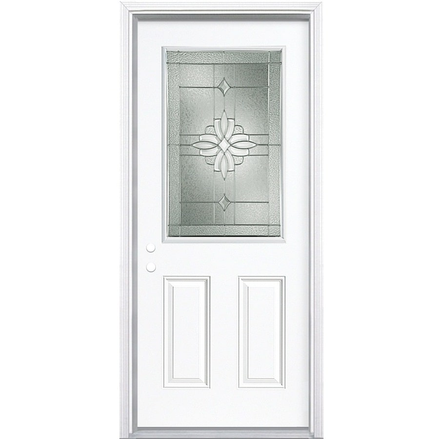Masonite Laurel 2-Panel Insulating Core Half Lite Right-Hand Inswing Primed Steel Prehung Entry Door (Common: 32-in x 80-in; Actual: 33.5-in x 81.5-in)