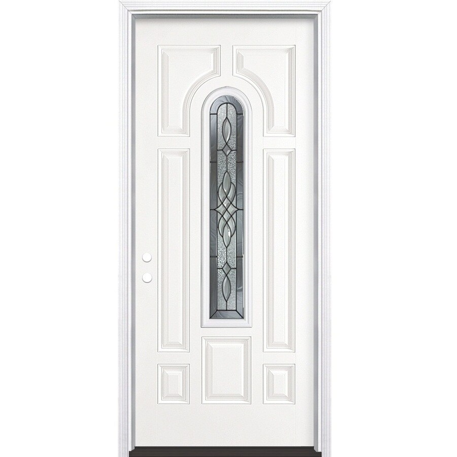 Masonite Hampton 8-Panel Insulating Core Center Arch Lite Right-Hand Inswing Primed Steel Prehung Entry Door (Common: 36-in x 80-in; Actual: 37.5-in x 81.5-in)