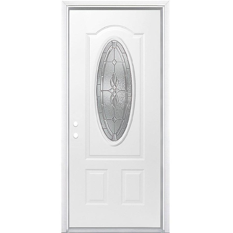 Masonite Hampton 2-Panel Insulating Core Oval Lite Right-Hand Inswing Primed Steel Prehung Entry Door (Common: 32-in x 80-in; Actual: 33.5-in x 81.5-in)