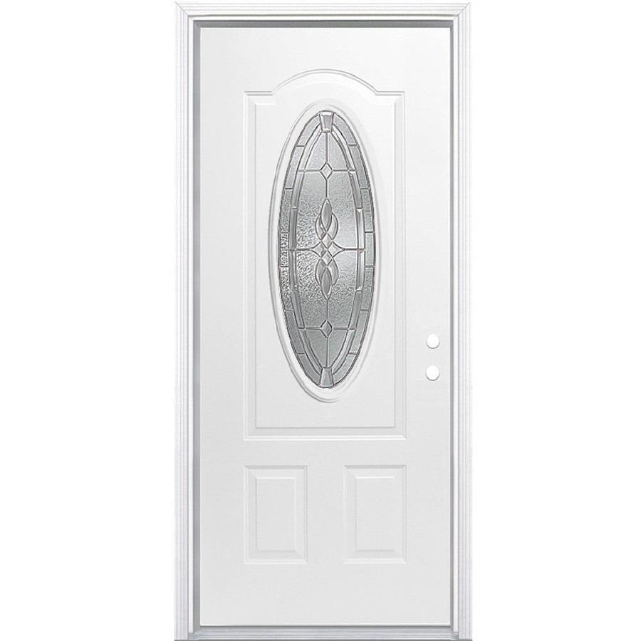 Masonite Hampton 2-Panel Insulating Core Oval Lite Left-Hand Inswing Primed Steel Prehung Entry Door (Common: 32-in x 80-in; Actual: 33.5-in x 81.5-in)