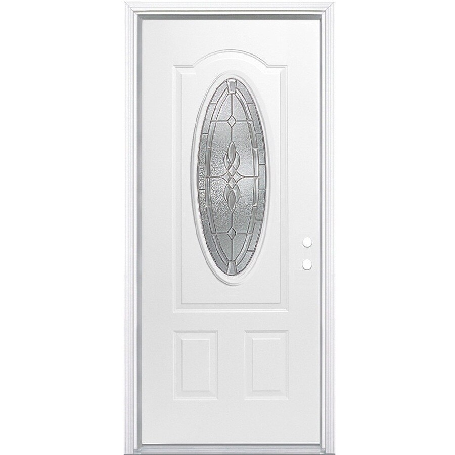 Shop Masonite Hampton 2 Panel Insulating Core Oval Lite