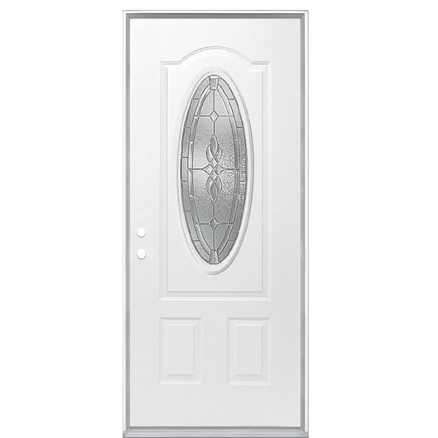 Masonite Hampton 2-Panel Insulating Core Oval Lite Right-Hand Inswing Primed Steel Prehung Entry Door (Common: 36-in x 80-in; Actual: 37.5-in x 81.5-in)