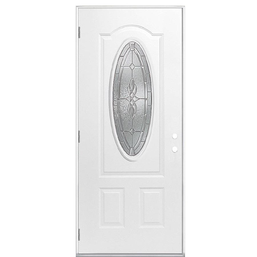 Masonite Hampton 2-Panel Insulating Core Oval Lite Right-Hand Outswing Primed Steel Prehung Entry Door (Common: 36-in x 80-in; Actual: 37.5-in x 80.375-in)