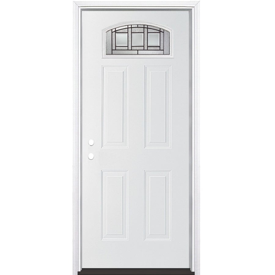 Masonite Craftsman Glass 4-Panel Insulating Core Morelight Right-Hand Inswing Primed Steel Prehung Entry Door (Common: 36-in x 80-in; Actual: 37.5-in x 81.5-in)