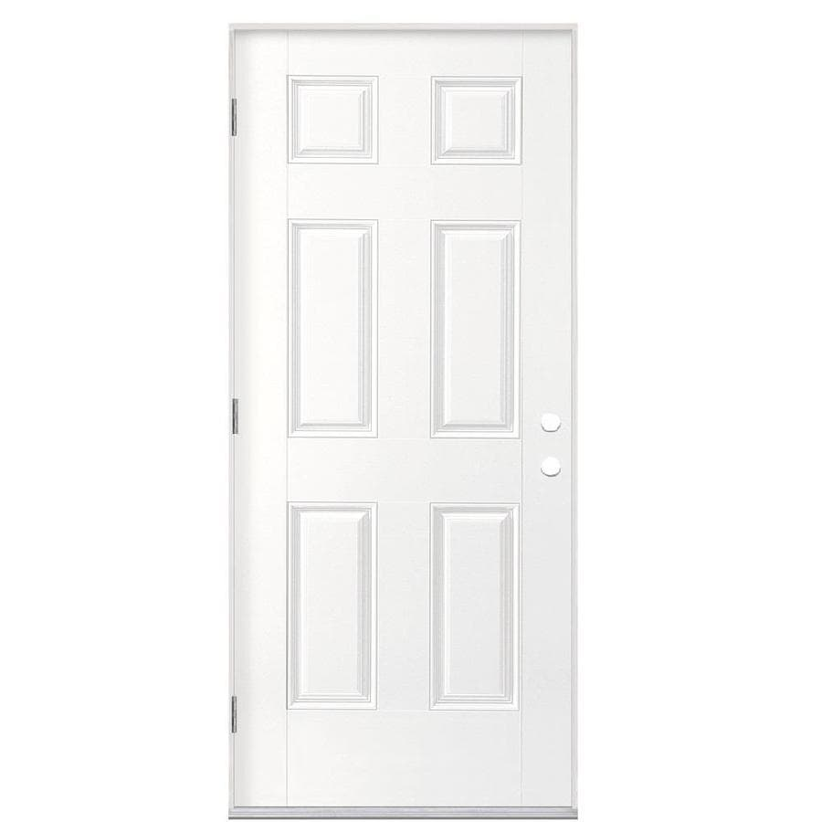 Masonite 6-Panel Insulating Core Right-Hand Outswing Primed Fiberglass Prehung Entry Door (Common: 36-in x 80-in; Actual: 37.5-in x 80.375-in)