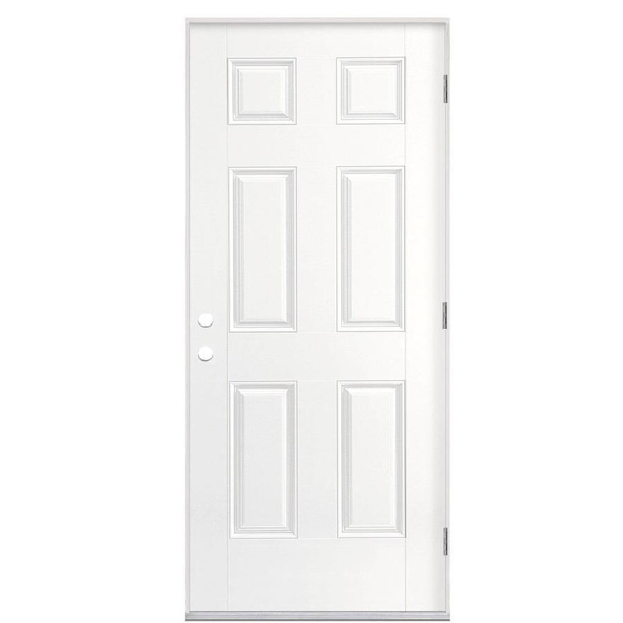 Masonite 6-Panel Insulating Core Left-Hand Outswing Primed Fiberglass Prehung Entry Door (Common: 36-in x 80-in; Actual: 37.5-in x 80.375-in)
