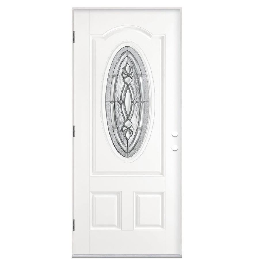 Masonite Panama 2-Panel Insulating Core Oval Lite Right-Hand Outswing Primed Fiberglass Prehung Entry Door (Common: 36-in x 80-in; Actual: 37.5-in x 80.375-in)