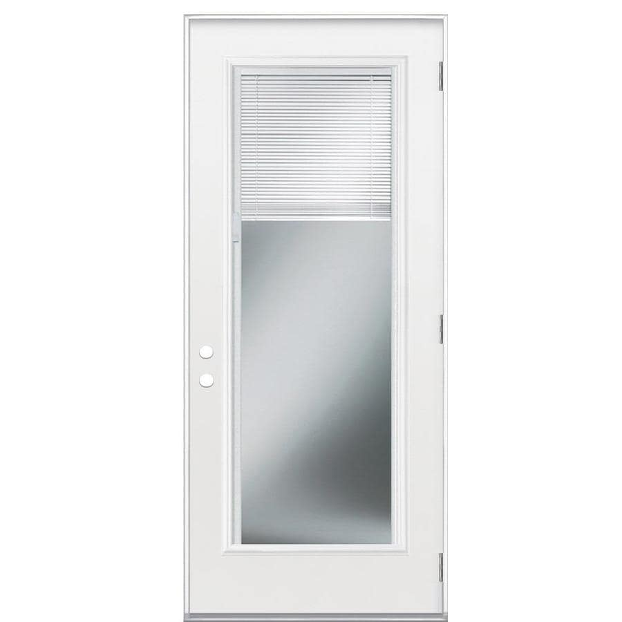 Masonite Flush Insulating Core Blinds Between The Glass Full Lite Left-Hand Outswing Primed Fiberglass Prehung Entry Door (Common: 32-in x 80-in; Actual: 33.5-in x 80.375-in)