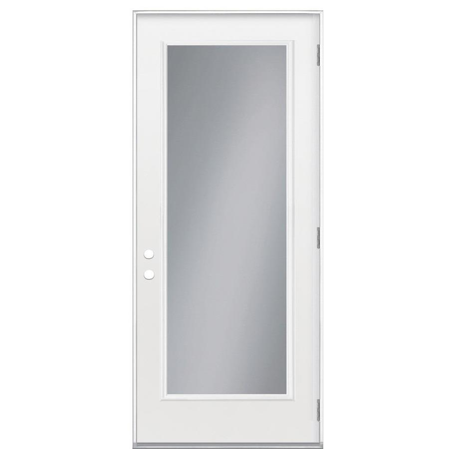 Masonite Flush Insulating Core Full Lite Left-Hand Outswing Primed Fiberglass Prehung Entry Door (Common: 32-in x 80-in; Actual: 33.5-in x 80.375-in)