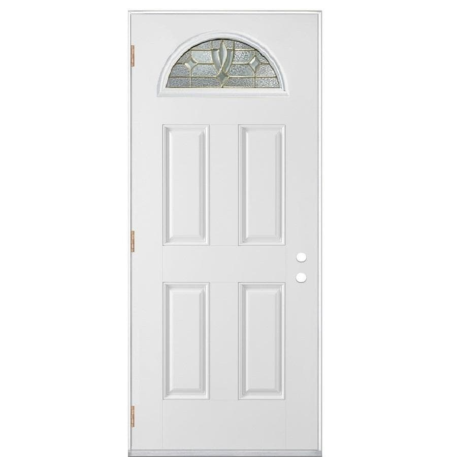 Masonite Laurel 4-Panel Insulating Core Fan Lite Right-Hand Outswing Primed Fiberglass Prehung Entry Door (Common: 36-in x 80-in; Actual: 37.5-in x 80.375-in)
