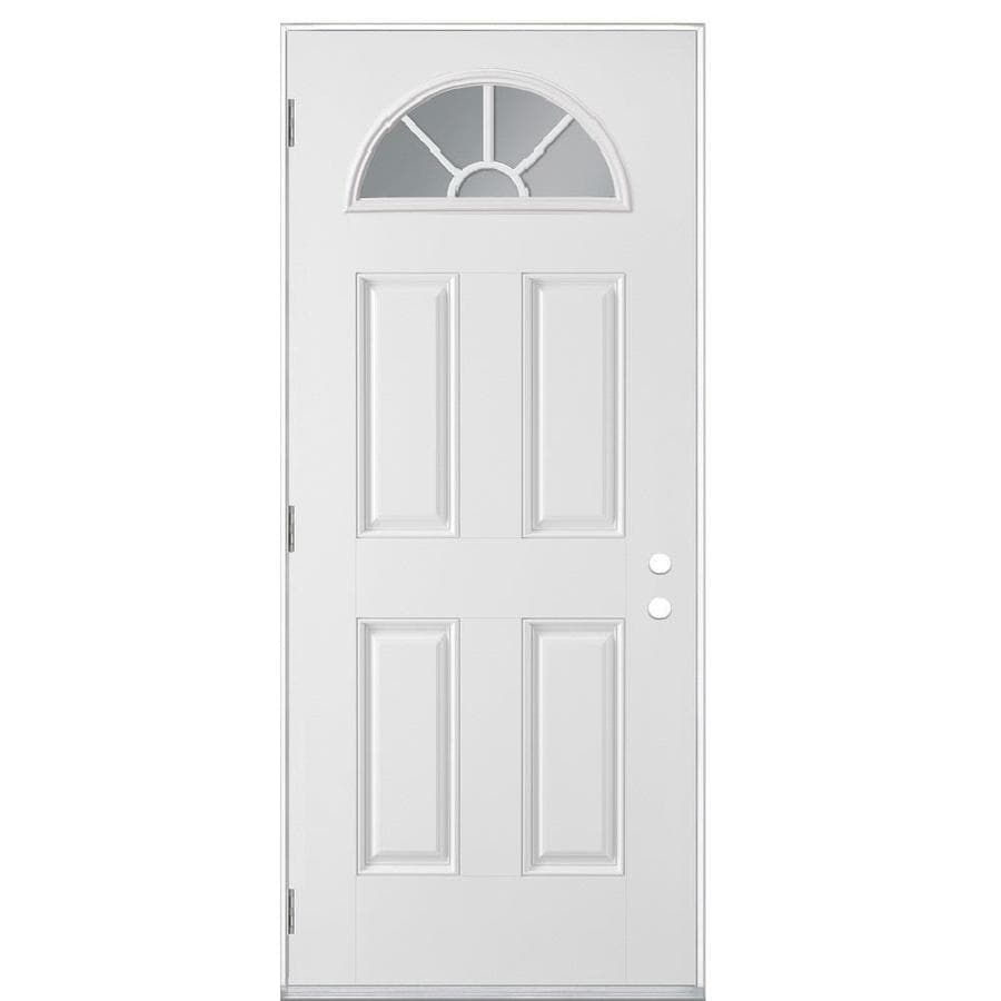 Masonite 4-Panel Insulating Core Fan Lite Right-Hand Outswing Primed Fiberglass Prehung Entry Door (Common: 32-in x 80-in; Actual: 33.5-in x 80.375-in)