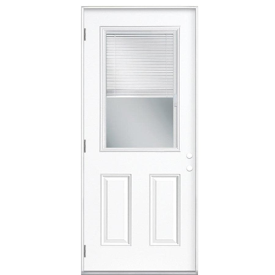 Masonite 2-Panel Insulating Core Blinds Between The Glass Half Lite Right-Hand Outswing Primed Fiberglass Prehung Entry Door (Common: 36-in x 80-in; Actual: 37.5-in x 80.375-in)